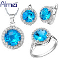 Almei 50% off  Fashion Sliver BIg Blue Round CZ Diamond Bridal Crystal Jewelry Sets For Women Female Ring Earring Necklace T011
