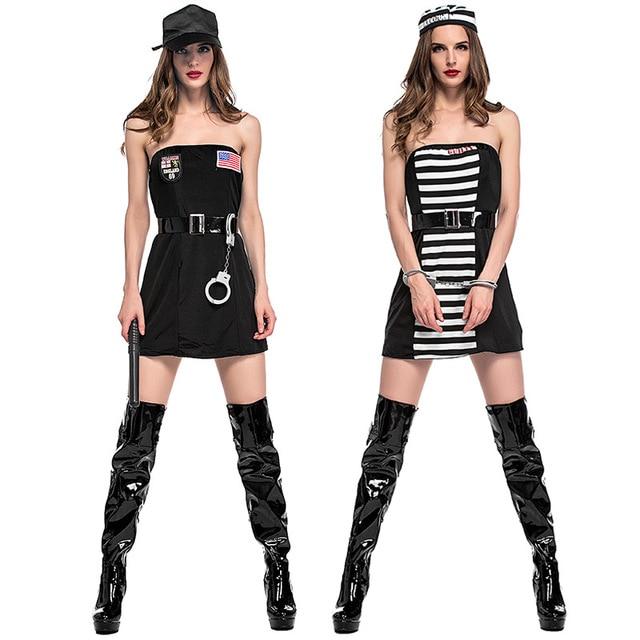 New Halloween Female Hollywood Movie Actor Cop Costume Prisoner Cosplay Disfraces -5150