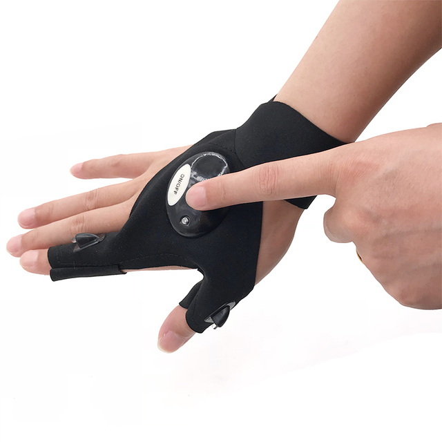 Fingerless Glove LED Flashlight Torch Outdoor Fishing Camping Hiking Magic Strap Survival Rescue Tool Light Left/Right Hand