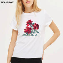 New Fashion Top Female T-Shirt White Summer womens Flower Print Short Sleeve O Neck Cotton Women Slim Fit Soft TShirt
