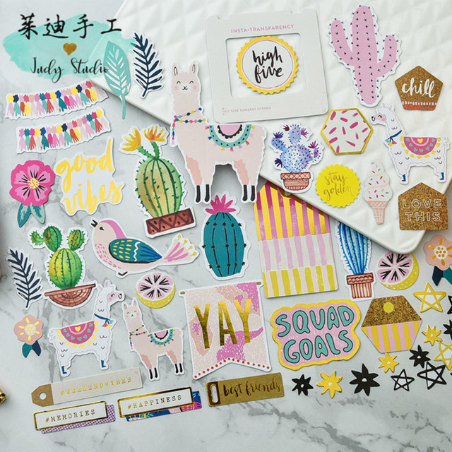Ypp craft 50pcs beautiful alpaca cardstock diecut stickers for scrapbooking happy planner card making