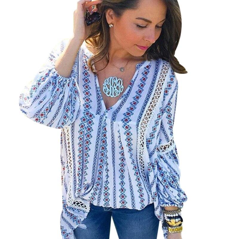 2017 sommer Aushöhlen Damen Boho Tops Langarm Frauen Sexy Bluse Femme Tiefem V-ausschnitt Kausalen Striped Shirts Vintage Blusas