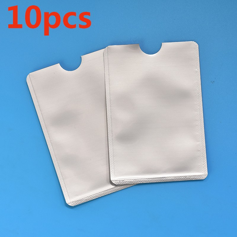 10pcs Silver Anti Scan RFID Sleeve Protector Rfid Card Protection Credit ID Card Aluminum Foil Holder Durable Quality