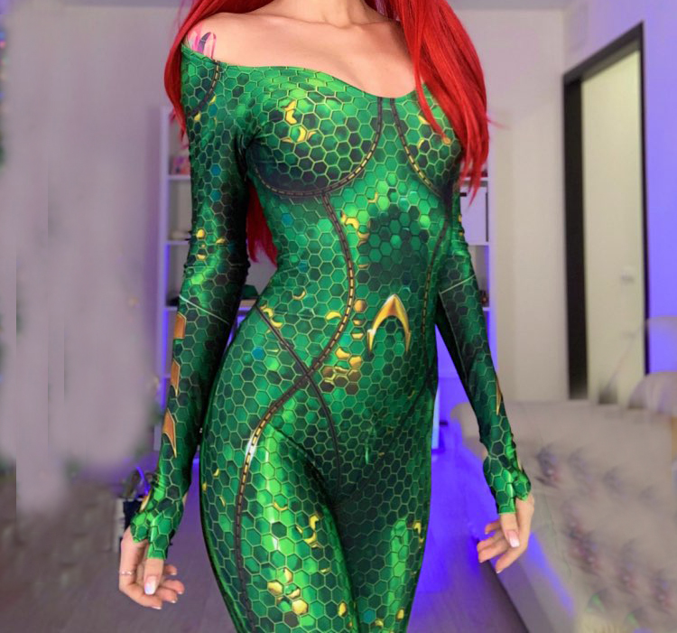 Mera Aquaman Film Version Cosplay Costume 3D Print Spandex Zentai Bodysuit halloween costumes for woman High