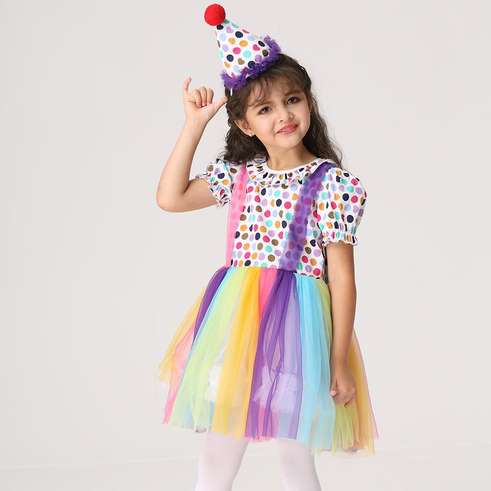Ek204 Детская одежда Косплэй показать платье Хэллоуин клоун ролевая игра костюм платье для девочек