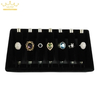 Black Velvet Ring Display Storage Tray Detachable Rings Holder Organizer Cases Jewellery Display Stand 24*13*5cm