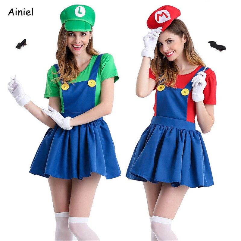 Hot Super Mario Bros Luigi Set Cosplay Costume Halloween Adult Red Green T-shirt Coat Cap Skirt Overalls Sweatshirts Women Suit