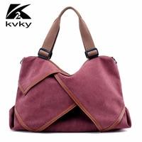 KVKY 2017 Autumn Brand Women Shoulder Bag Fashion Canvas High Capacity Women Bags Casual Shopping Bags Top-handle Women Handbags