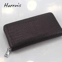 Alligator Genuine Leather Men Wallets Business Style With Metal Zipper Clutch Bags For Men