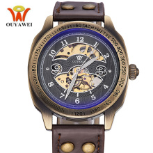 цена на Vintage Watch Men Antique Steampunk Skeleton Luxury Brand OUYAWEI Retro Fashion Casual Male Clock Waterproof Mechanical Watch