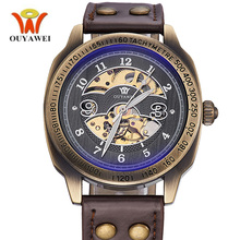 OUYAWEI Steampunk Watch Automatic Men Antique Design Retro Bronze Leather Band Self-Wind Waterproof Skeleton Vintage Watch