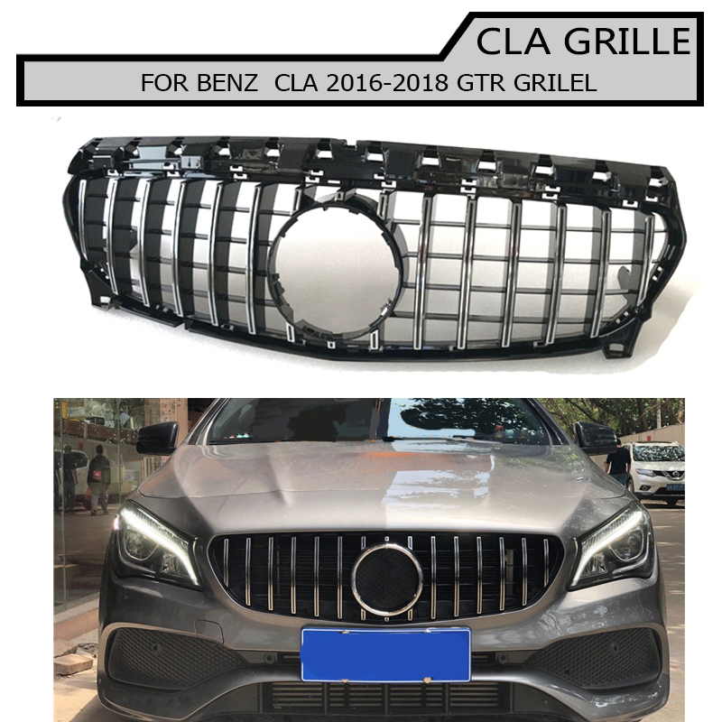 Front Bumper Mesh Grill Black Honeycomb Grille For benz cla  2017 2018 GT GTR Style grille