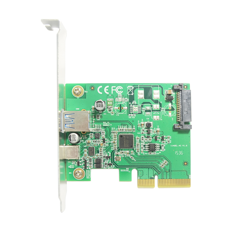 Desktop PCIe X4 Adapter Card To USB 3.1 Gen2 10Gbps USB-A TYPE-C ASM1142 Chip