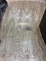 Français fil unique broderie maille matériel Français tulle dentelle sur vente 5 mètres avec collé glitter pour parti robe de mariage robe