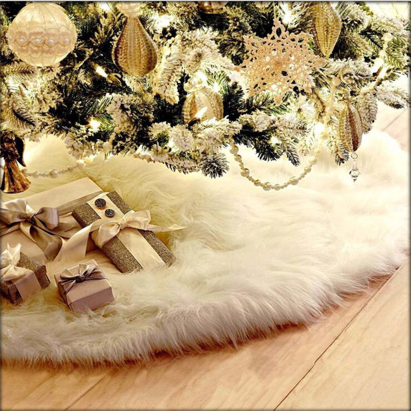 AOVOLL Soft Under Christmas Tree Carpets For Living Room Bedroom Kid Room Rugs Plush Tree Skirt White Round Rugs Decorate Mats