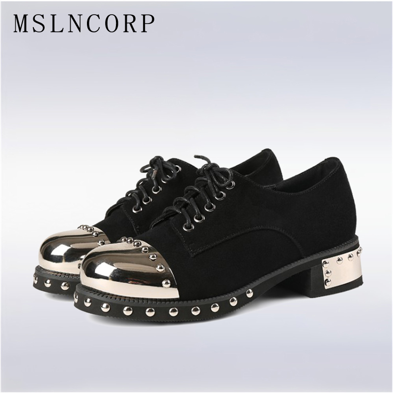size 34-43 High Quality Genuine Leather Oxfords Flats Women Shoes Lace Up Metal Rivet Zapatos Mujer Loafers Casual Lady Shoes hot sale genuine leather shoes women soft comfortable lace up zapatos mujer high quality fashion oxfords pigskin women s shoes