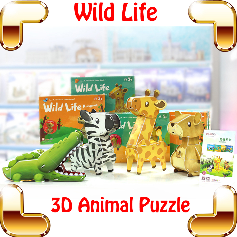 New Year Gift Wild Life 3D Puzzles Model Animal DIY Toys Education Textbook Tool Learning Assembly Decoration Kids Teach Game