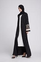 Elegant Muslim Lace Abaya Maxi Dress Pearls Cardigan Long Robe Kimono Loose Jubah Ramadan Arabic Turkish Islamic Prayer Clothing