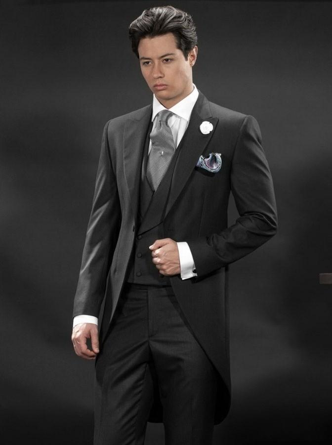 Morning Style One Button Charcoal Groom Tuxedos Groomsmen Mens ...