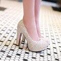 Новые сексуальные туфли на каблуках женщины насосы платформы блеск каблуки белый свадебные туфли женщины круглым носком дамы золото партии выпускного вечера обувь