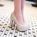 New sexy high heels shoes women pumps platform glitter heels white wedding shoes women round toe ladies gold party prom shoes