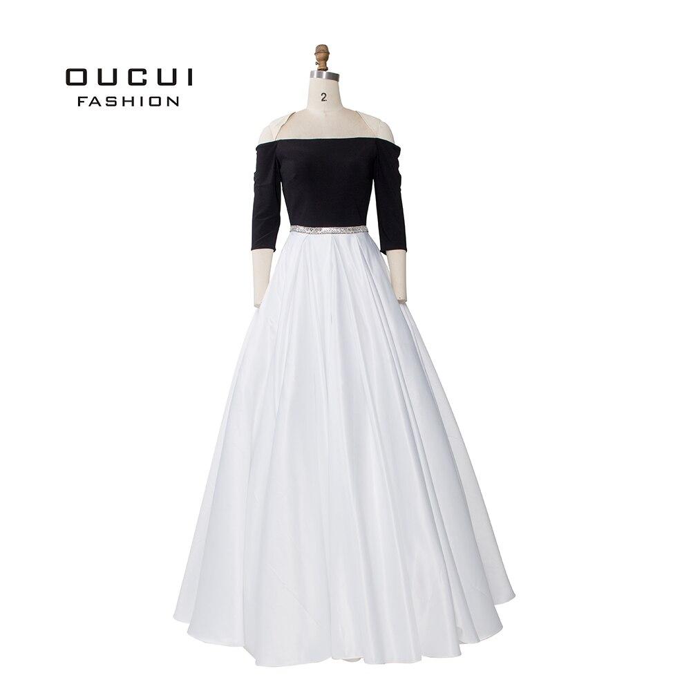 Simple noir sans bretelles soirée femmes robe bal manches courtes robe De bal 2019 strass ceintures Vestidos De Fiesta OL103182