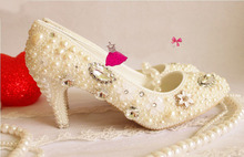 Popular 8cm high wedding shoes luxurious handmade  dress shoes princess Pearl rhinestone the crystal formal evening dress shoes