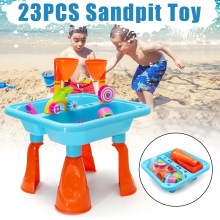 23pcs/Set Sandpit Toys Non-toxic Plastic Kids Outdoor Sand & Water Children Activity Play Table Sandpit Toy Set Multi-Coloured(China)
