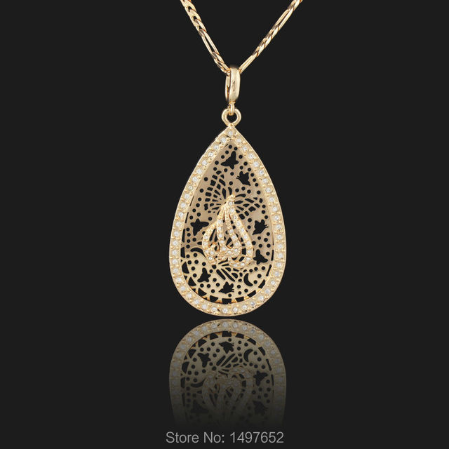 New Brand Big Size Muslim Islamic Pendant 18K Rose Gold Plated Clear