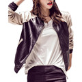 2016 Autumn New Fashion Women Motorcycle PU Leather Short Jackets Ladies Zipper Long Sleeve With Pockets Outwear Coat