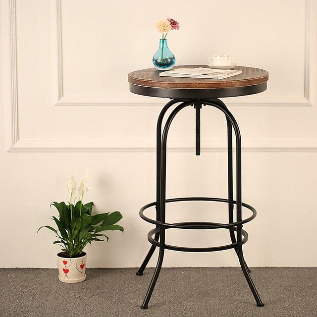 Brand IKAYAA Round Pine Wood Top Bar Pub Bistro Table Height Adjustable  Swivel Kitchen Dining Breakfast