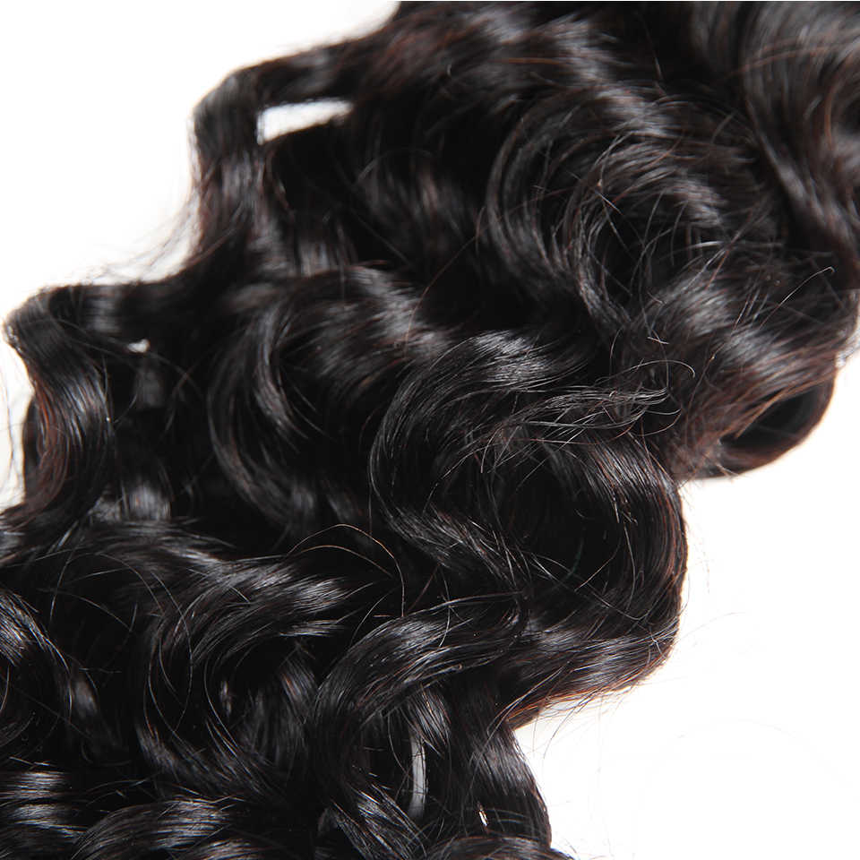 Sleek Water Wave With Closure 3 4 Bundles With Closure Non Remy Human Hair Extension Brazilian Water Wave Bundles With Closure