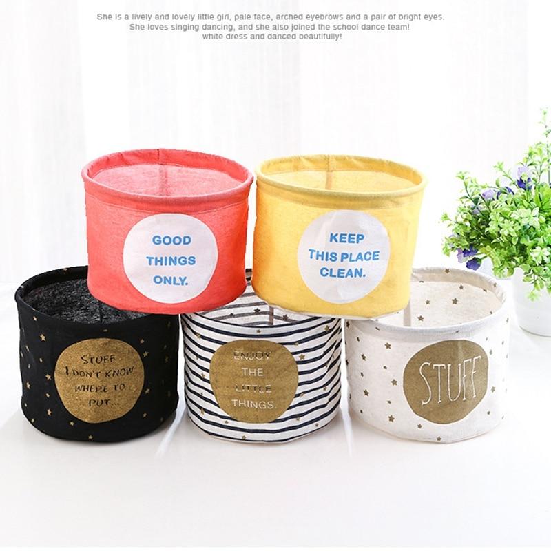 Waterproof Small Printed Cotton Linen Desktop Sundries Storage Basket Box,Toys Bathroom Cosmetic Makeup Snacks Holder Organizer