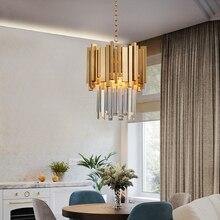 Youlaike Золотая люстра освещение один свет Столовая светодиодный хрустальный светильник современная кухня Остров кулон цепь кристальная люстра