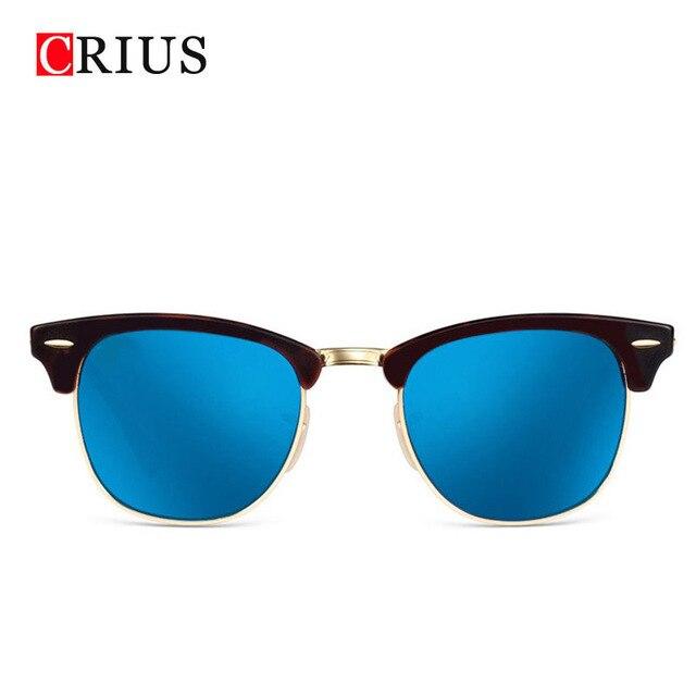 H femmes de lunettes de soleil hommes lunettes de soleil noir bordé revêtement homme métal cadre demi brdesigner cru Véritable Marque UV400 2017 nouveau