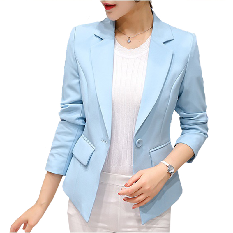 2019 Blazer Femme Jackets Women Blazer Pink Long Sleeve Blazers Solid One Button Coat Slim Office Lady Jacket Female Tops Suit(China)
