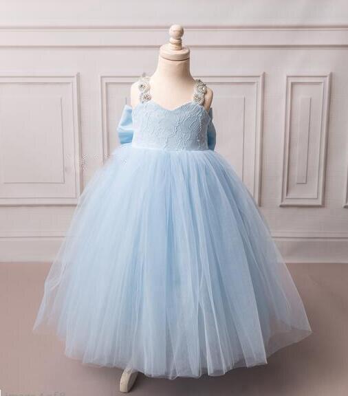 Ball gown costume Cinderella inspired Sweetheart crystal rhinestones sky blue flower girl dress backless for baby birthday party blue sky чаша северный олень