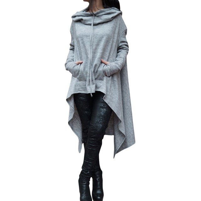 12ed01a2 Women's Fashion Solid Color Draw Cord Coat Long Sleeve Loose Casual Poncho  Coat Hooded Pullover Long Hoodies Sweatshirts
