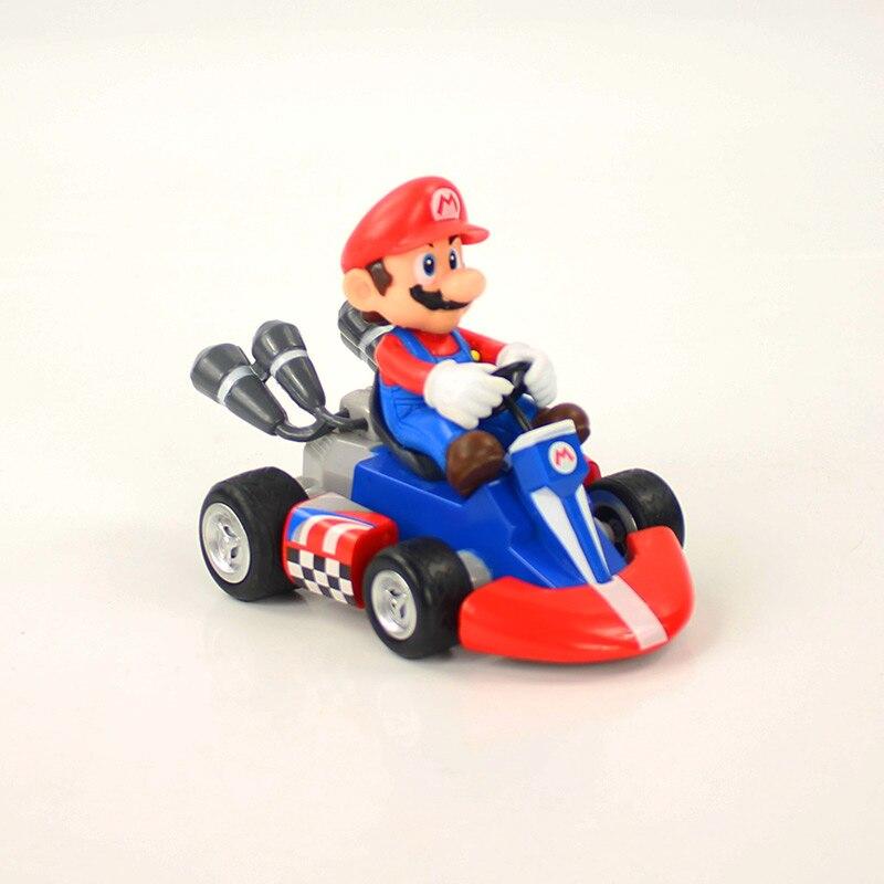 7 Styles Super Mario Bros Kart Figure Toy Mario Luigi Yoshi Toad Princess Peach Koopa Bowser Donkey Kong Pull Back Car Kid Gifts