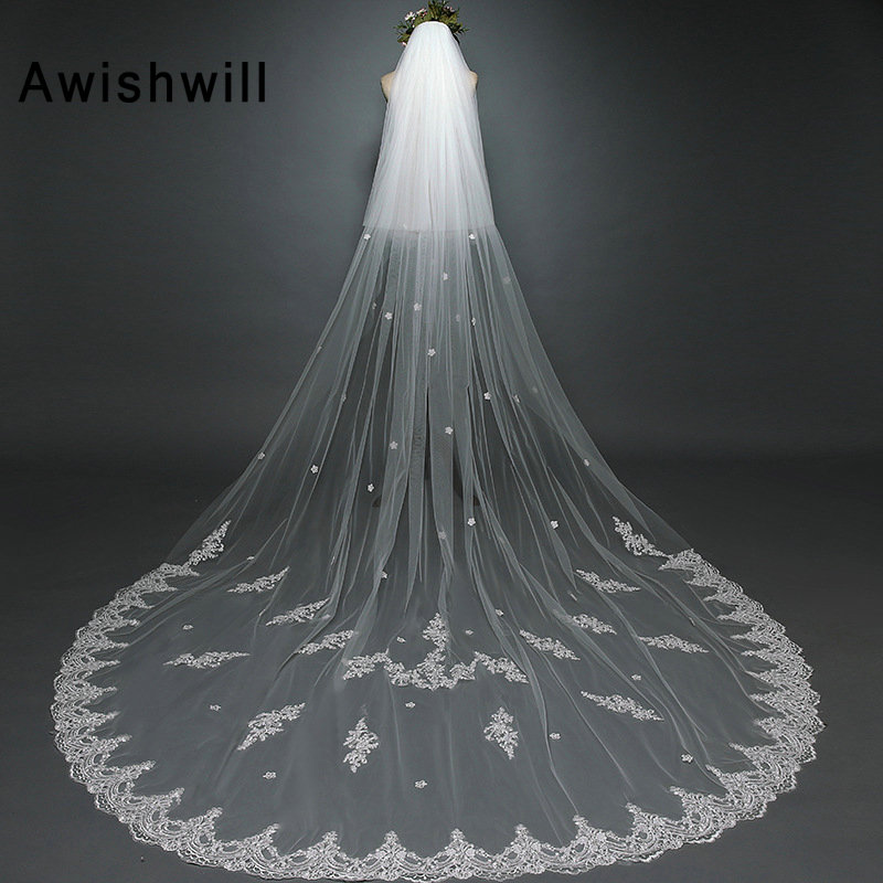 Real Photo Cheap Long Lace Edge Wedding Veil With Comb Cover Face Two Layers Bridal Veils Appliques Bride Accessories Veli Sposa