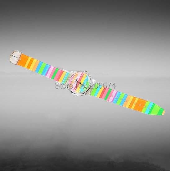 Willis Stylish Rainbow Pattern Design Fashion women dress Water Resistant Analog Wrist quartz Watch ladies watch free shipping