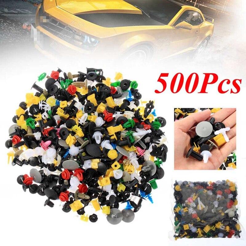 500 Pcs Mixed Color Car SUV Fender Bumper Door Engine Push Rivet Fastener Clips