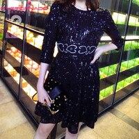 Для женщин Мода блестками beadings Вечерние торжественное платье Лето Круглая горловина Тонкий Короткие повседневные работа Половина рукава