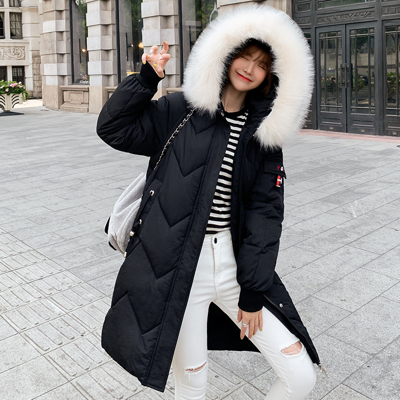 Winter Jacket Women Slim Solid Fur Hooded Wear Ladies Long Parkas Jacket Thick Warm Coat Plus Size