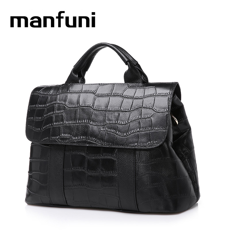 MANFUNI genuine leather bags handbags women famous brands Professional business briefcase Messenger