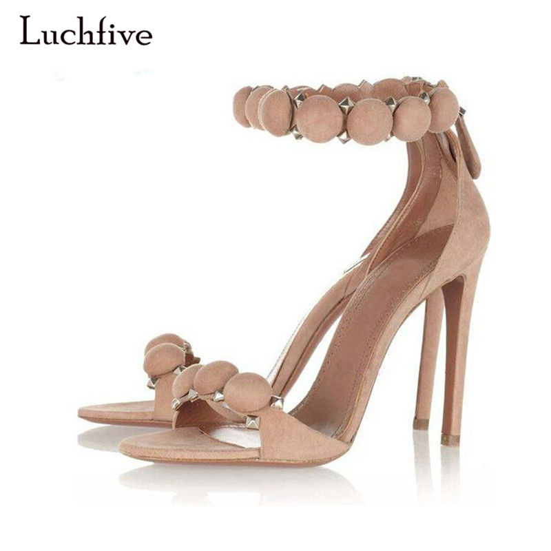 Luchfive Hot Sale Gladiator Sandals Women Rivet Ball Ankle Strap Suede Strappy 10CM High Heels Party Shoes Woman Plus Big Size nayiduyun shoes women cow suede strappy sandals roman gladiator sandals platform wedges creepers party casual shoes summer size