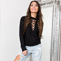 Lace Up Hollow Out Autumn Sweater for Women Solid Black Nude Long Sleeve Sexy Street Wear All Match Knitting Shirt 10