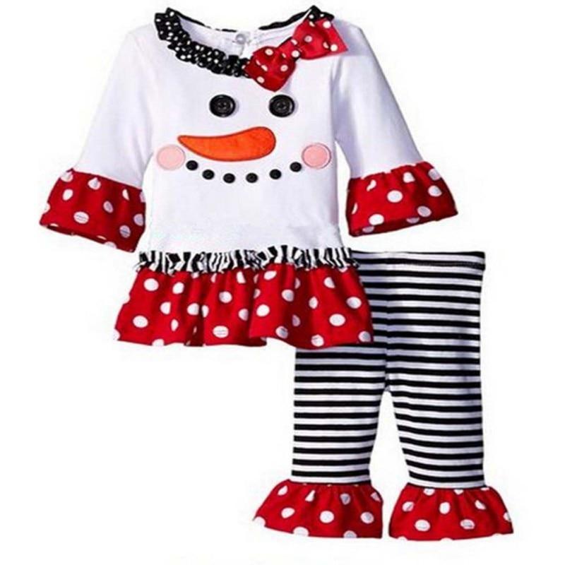 3PCS Christmas Kids Toddler Girls Snowman Ruffle Long Sleeve Tops+Pants Outfits Clothes Set PL2 toddler kids girls clothes cotton long sleeves t shirt top pants headband christmas snowman ruffle polka dot outfits