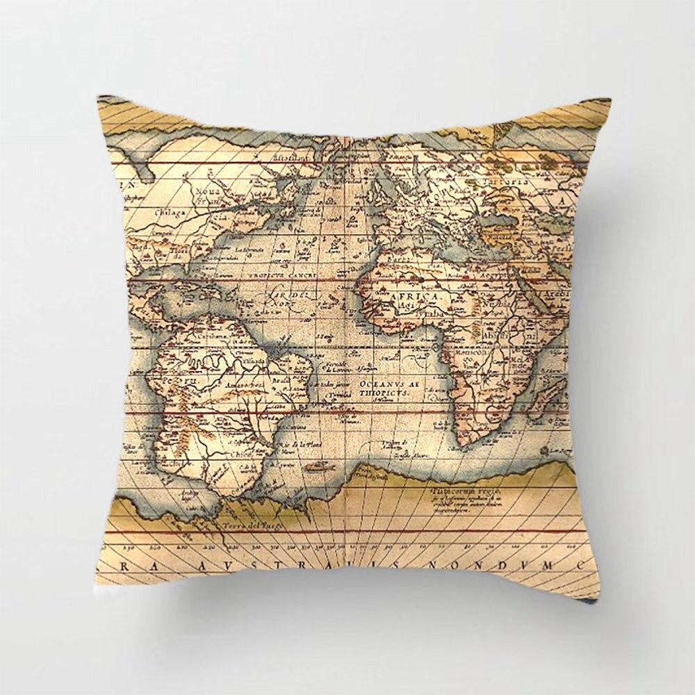 ΞOld World Map Throw Pillow Case Decorative Cushion Cover