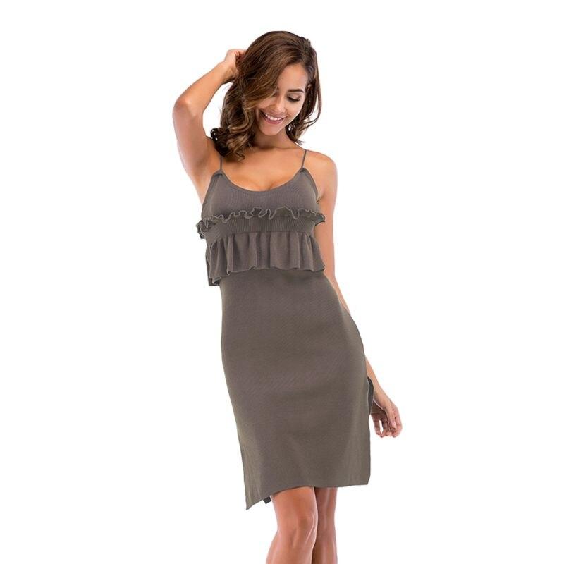 Женское летнее платье без рукавов глубокое круглое декольте вечерний вечерние облегающее платье миди плиссированные оборки гриб пэчворк С...
